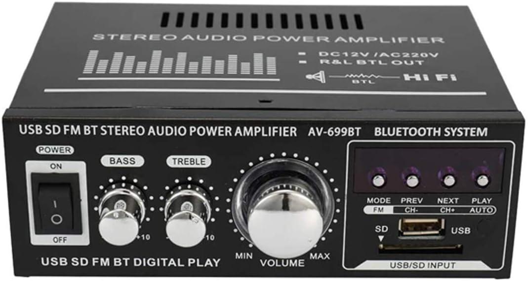 400W Amplificador Audio BT 12V/220V, Mini Bluetooth Amplificador HiFi Audio Estéreo Inalámbrico Potencia Señal Digital de Doble Canal de Aluminio con Adaptador de Alimentación, para PC/Coche/Casa