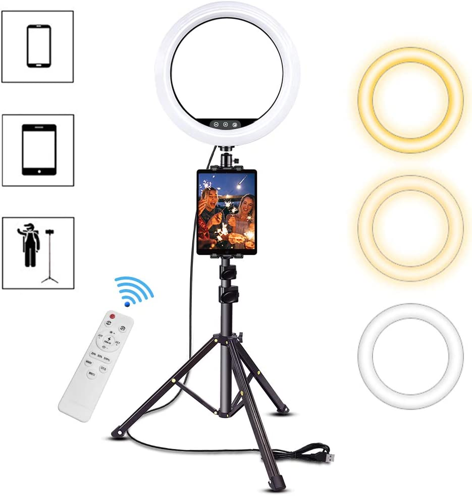 12 Inch Ring Light with Stand, SAVEYOUR Dimmable LED Ring Light with Phone Holder & Pad Holder, Lighting for Live Stream/Makeup/Video/Camera/YouTube, Compatible with iPad iPhone Android