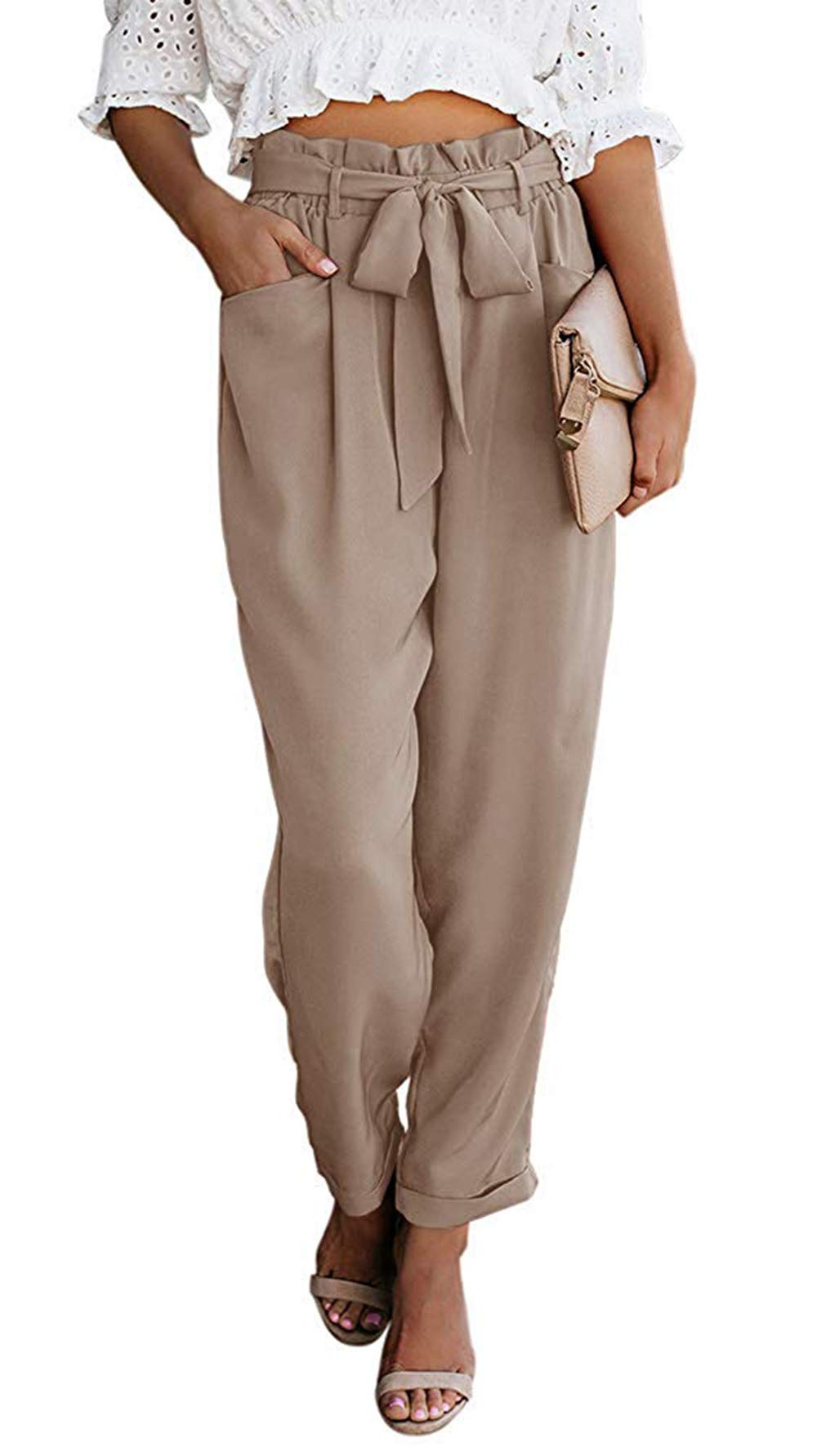 NEWFANGLE Women Paper Bag Pants Elastic High Waist Slim Casual Long Pants Cropped with Pockets,Khaki,S