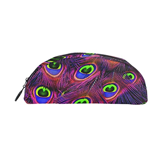 MUOOUM Peacock Feathers 3617473 Pencil Case Semicircle Stationery Pen Bag  Pouch Holder For School