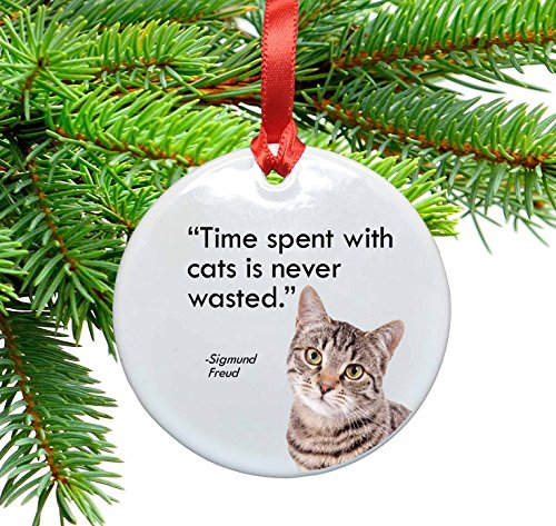 Freud and Cats Quote Ceramic Christmas Ornament. Time spent with cats is never - Christmas Quotes