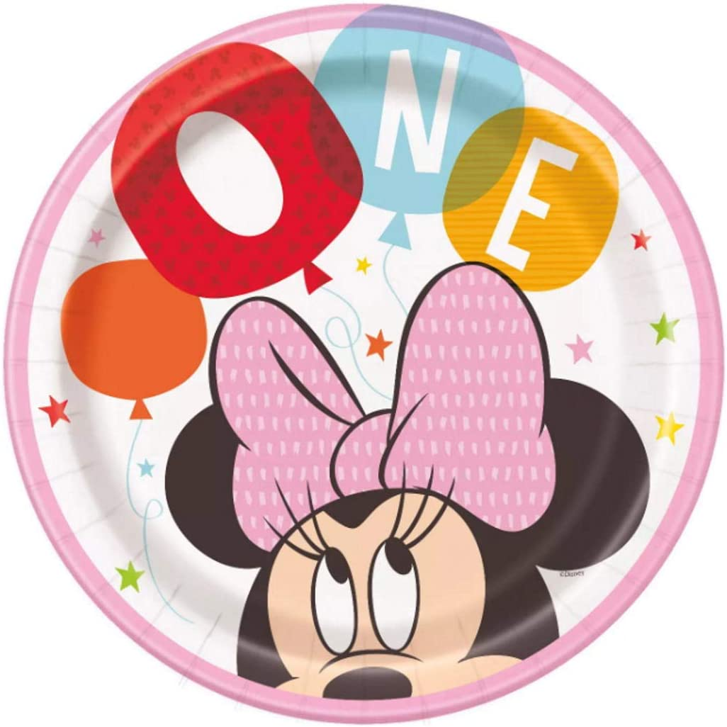 "Disney Baby Minnie""ONE"" 1st Birthday Party Paper Lunch Plates (8 per pkg)"