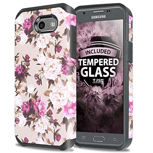 For Samsung Galaxy J7 Sky Pro Case, Galaxy J7 Perx Case, Galaxy J7 V Case, With TJS [Tempered Glass Screen Protector] Design Slim Hybrid Shockproof Impact Armor Romantic Pink White Roses Floral Cover