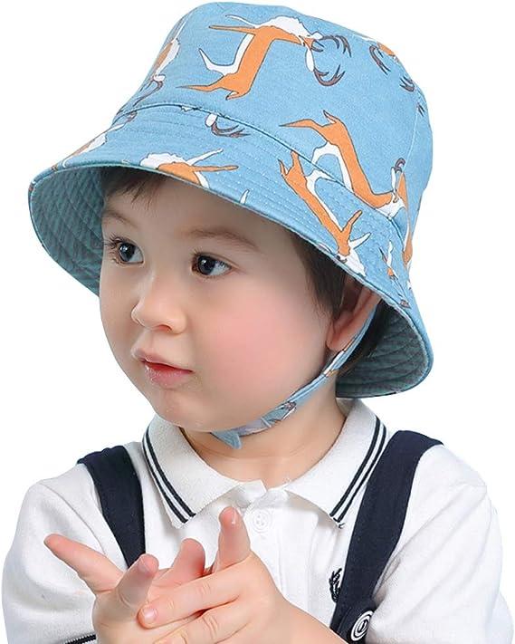 LAPLBEKE Bebé Niños Sombrero Pescador - Niña Algodón de Protectora ...