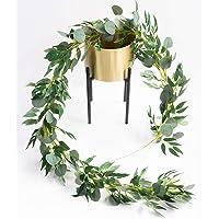 Amkun 152 cm konstgjorda silver dollar eukalyptus blad och vide vinstockar kvistar löv girlang sträng för hem fest…