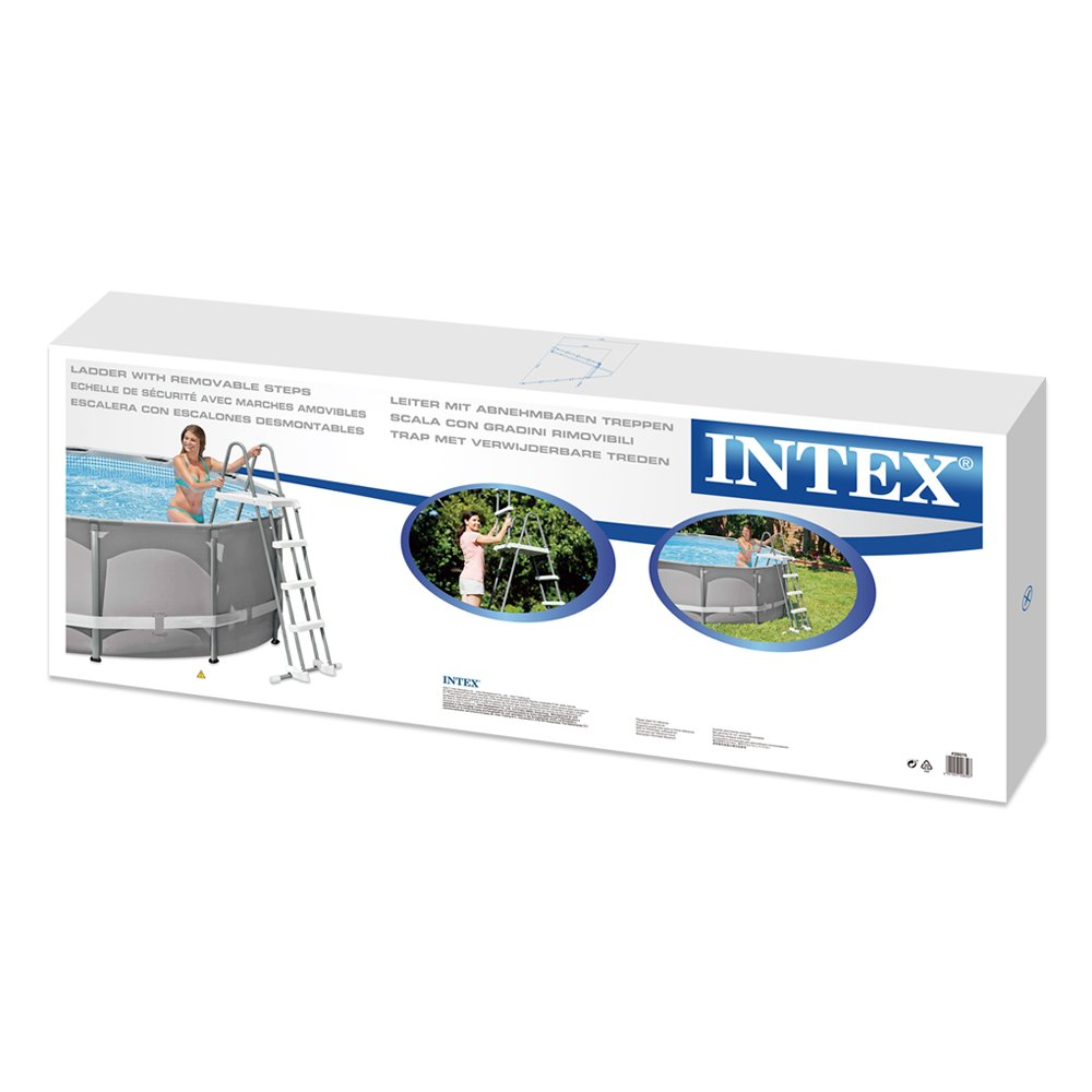 Intex 28076 - Escalera de seguridad para piscinas elevadas de altura 122 cm: Amazon.es: Jardín