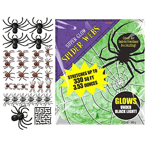 28 ct. Big Pack of Plastic Spiders and Green Polyester Spider Webs Halloween Decoration Bundle - Includes 1 Maze Game Activity Card by ClassicVariety]()