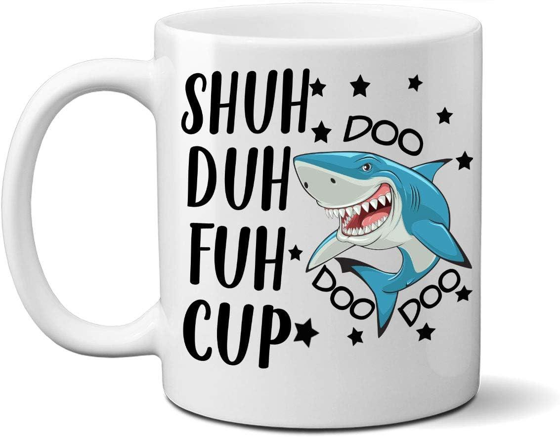 JUMPMAN Shuh Duh Fuh Cup Doo Doo Doo Mug, Shark Mug, Shut the Fuh Cup, Curse Word Mug, Cussing Mug, Mug with Curse Words, Funny Curse Word Mug, Funny Mug, Rude Mug