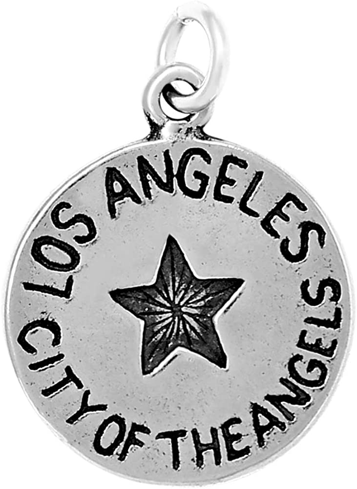 Raposa Elegance Sterling Silver Los Angeles Charm on a Sterling Silver 18 Cable Chain Necklace