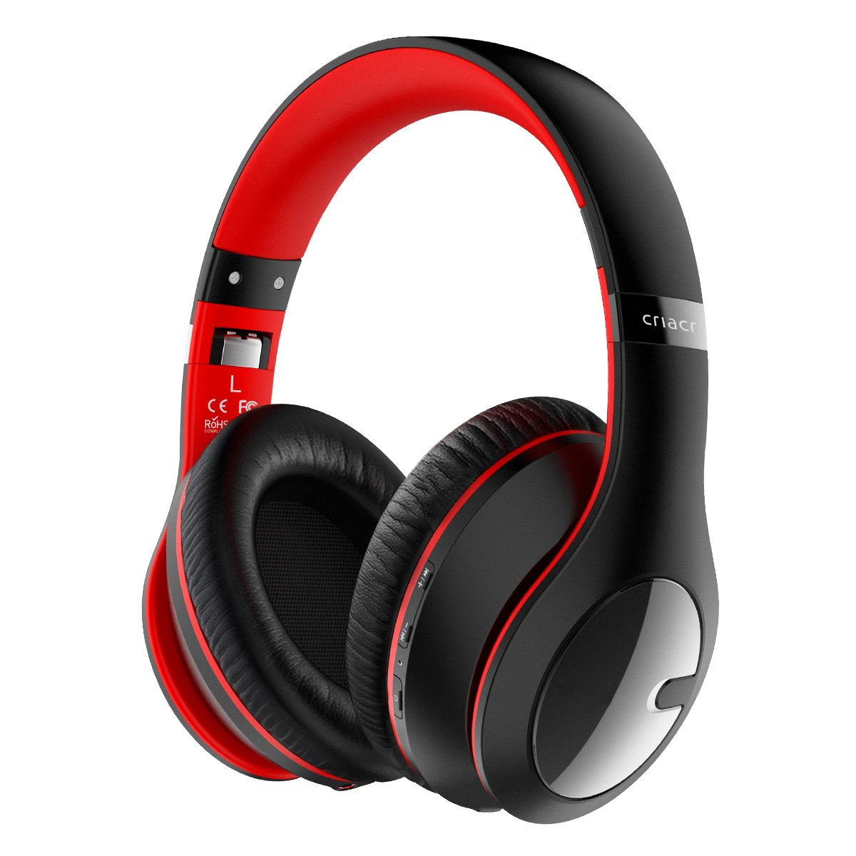 Criacr Bluetooth Headphones, Foldable Lightweight Over Ear Wireless Headsets with Hi-Fi Stereo, 3.5mm Audio Jack, Soft Earmuffs, Built-in Microphone, for Smartphones, Tablet, TV, PC - Red