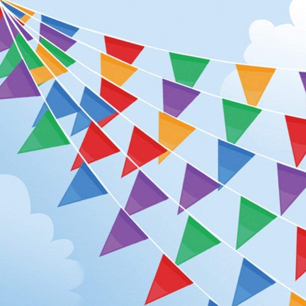 Joykey 100M banderines 200 Banderas Nylon banderin Decoración para la Fiesta de Bodas del cumpleaños, Actividad al Aire Libre, jardín