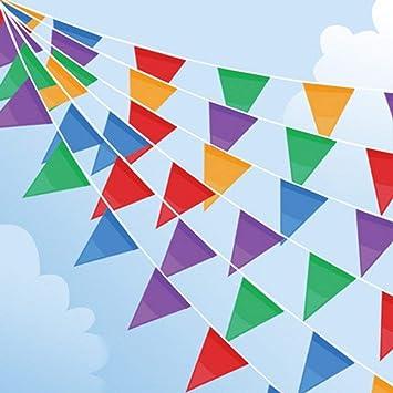 Joykey 100M Multicolor banderines 200 Banderas Nylon banderin Decoración para la Fiesta de Bodas del cumpleaños, Actividad al Aire Libre, jardín: Amazon.es: Juguetes y juegos