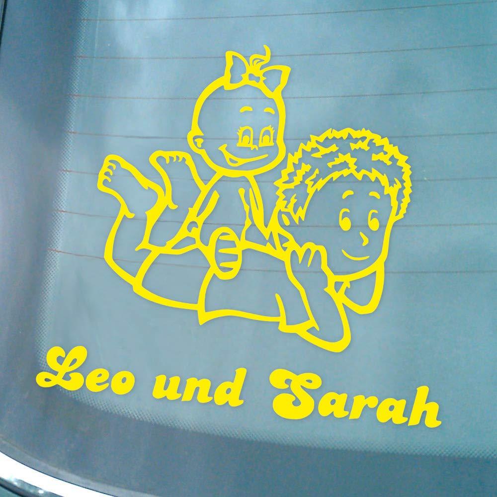 Motiv G1-JJ Babyaufkleber Autoaufkleber f/ür Geschwister mit Wunschtext 16 cm