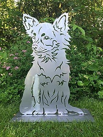 Long Hair Chihuahua Dog 60 Cm Rust Patina Garden Statue Figurine