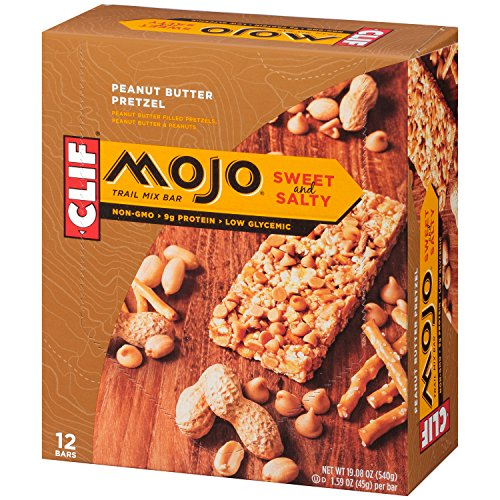 CLIF MOJO - Sweet and Salty Trail Mix Bar - Peanut Butter Pretzel - (1.6 Ounce Snack Bar, 12 Count) Crispy Rice Bar Peanut Butter