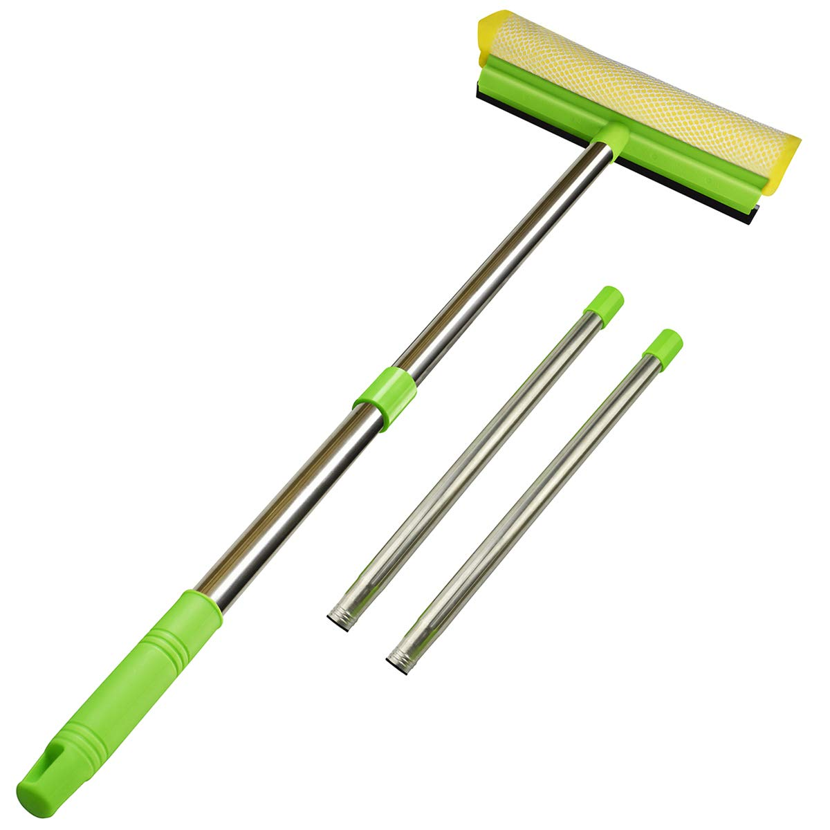 """ITTAHO Multi-Use Window Squeegee 2 in 1 Sponge Squeegee Window Cleaner with Long Extension Pole Car Windshield Window Cleaning Tool with 58"""" Handle for Auto Gas Station Outdoor High Window Cleaning"""