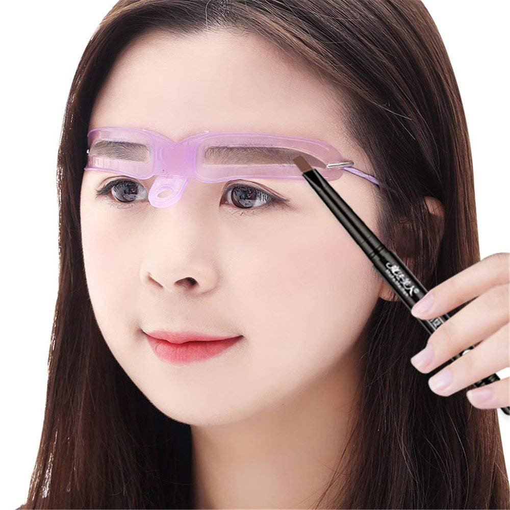 RoadRoma Portable Eyebrow Shaping Stencils Eye Brow Guide Template Kit Makeup DIY Tool Pink