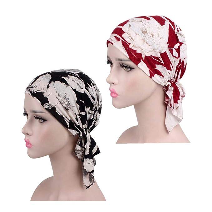 ZYCC Bufanda del Pañuelo de Las Mujeres del Algodón Turban Headwear Chemo Beanie Caps pre ataron