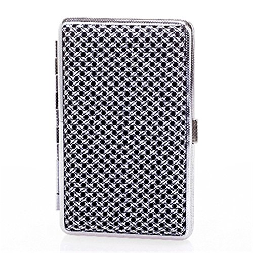 MGStyle 100's 14 Pcs Cigarette Case Box - Metal Alloy - Black & Silver Tone - Regular Size For Men or - Case High Cigarette Quality