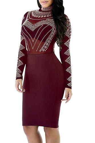 PinkWind Women Sexy Sheer Mesh Lace Dots Print Top Club Bodycon Dress