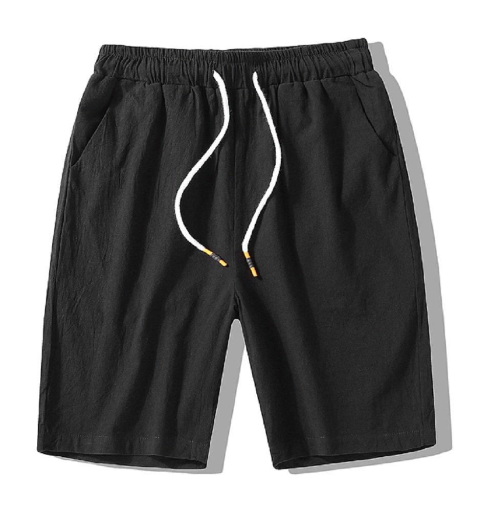 XRDshoes Men's Casual Cotton and Linen Pants Summer Beach Trend Fashion Linen Shorts (Black, XL)