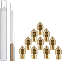 YOTINO 15 Pcs 3D Printer Nozzle and Cleaning Kit Including 10 Pcs MK8 Nozzles(0.2 0.3 0.4 0.5 0.6mm) and 5 Pcs Cleaning Needles(0.2 0.3 0.4 0.5 0.6mm)