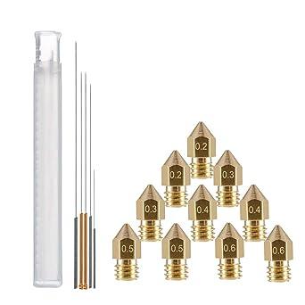 YOTINO 10 piezas MK8 Boquilla Extrusora + 5 piezas Boquilla Kit de ...