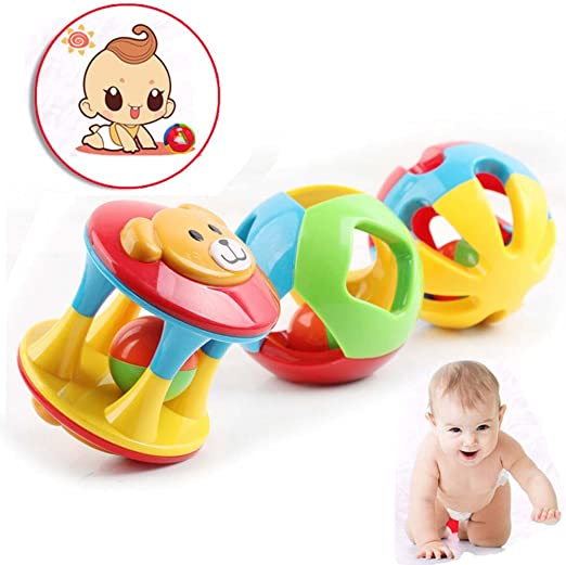 1*Soft Plastic Baby Grasping Bell Ball Toy Rattles Sound Educational Rolling New