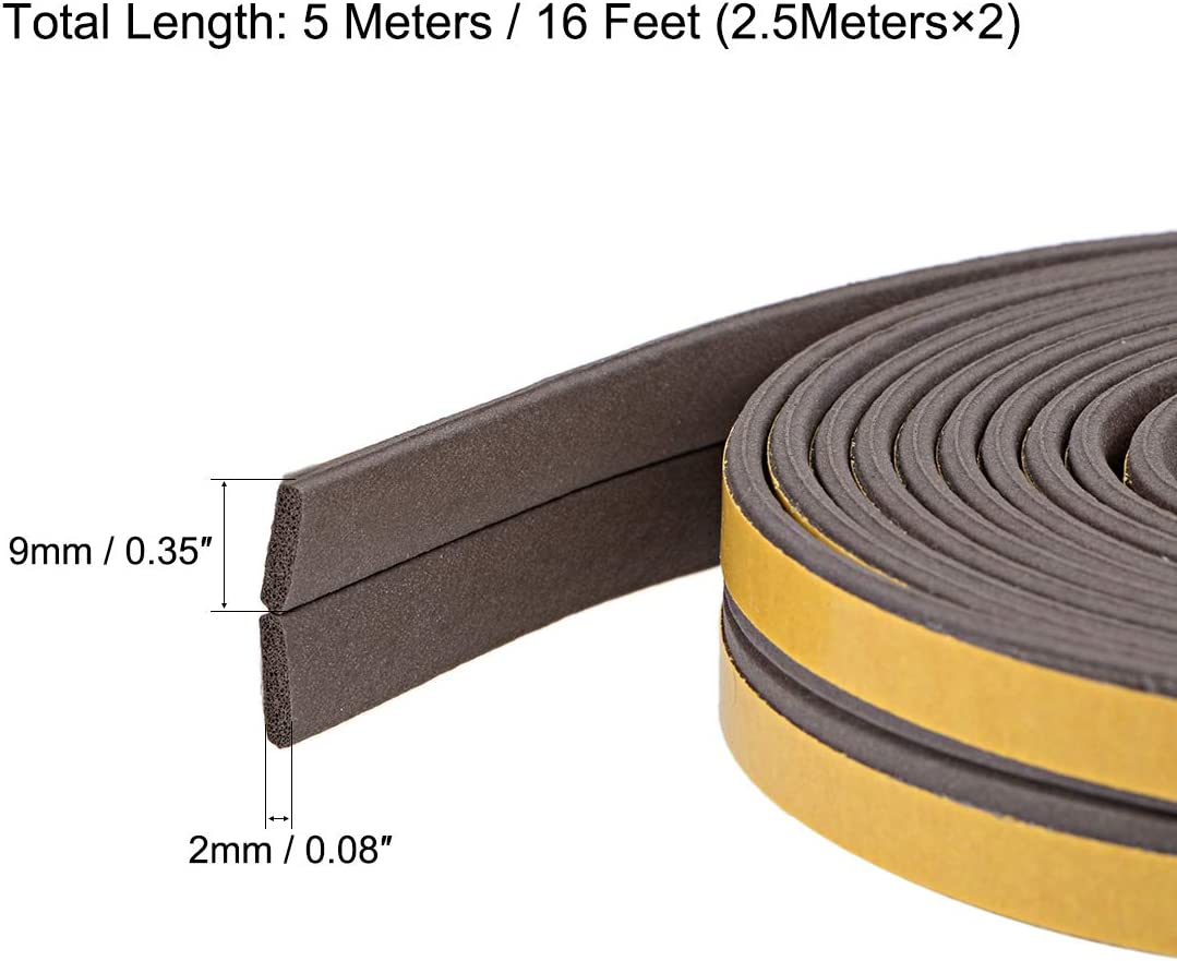 uxcell Foam Tape Adhesive Weather Stripping 9mm Wide 2mm Thick 3 Meters Long Gray Pcs