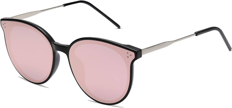 SOJOS Retro Round Sunglasses for Women Oversized Mirrored Glasses DOLPHIN SJ2068