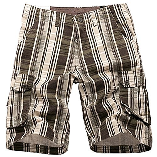 i-Summer Men's Plaid Patchwork Cotton Shorts Pants Coffee 36 Plaid Knee Shorts