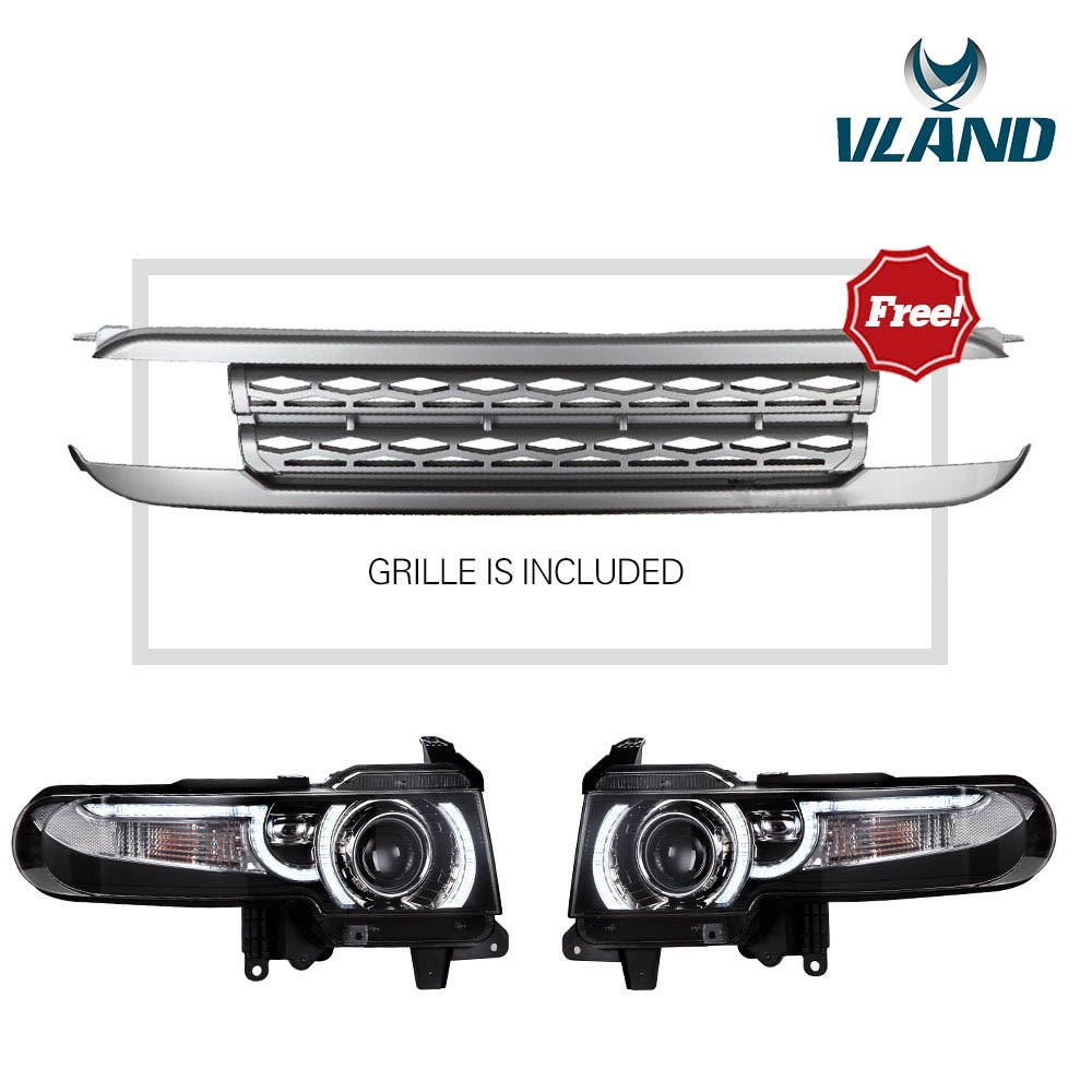 Vland Toyota Fj Cruiser 2007 2015 Led Dual Beam Stop Light Switch Wiring Diagram Headlights Grille Assembly Halo Projector Automotive