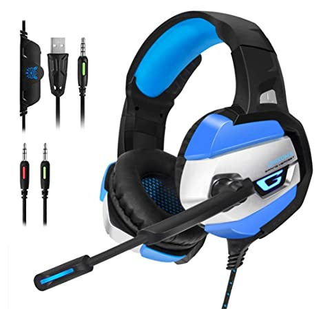 ONIKUMA Gaming Headset - Gaming Headphone for PS4, Xbox One, PC, Stereo USB  Headset with Noise Cancelling Mic and LED Light, Over Ear Headphones for