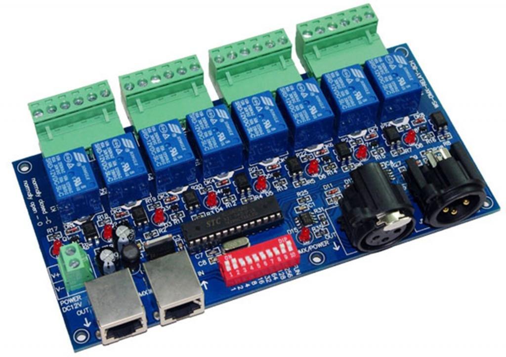 8ch dmx relay switch dmx512 controller relay output dmx512 relay control 8 way relay switch max 10a amazon com