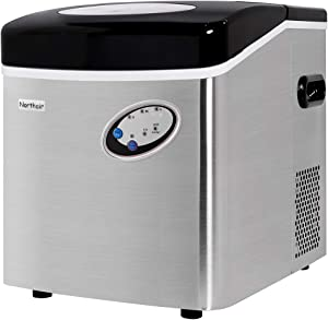 Northair Portable Automatic Stainless Steel Ice Maker,48lbs/24H,Extra Large Capacity with Clear Operation Control Panel, Countertop Design, High Efficiency Make 3 Size Bullet Shaped Ice, Ice scoop