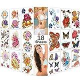 Lady up 18 Sheets Premium Metallic Temporary Tattoos Shimmer Flower & Birds Body Art Henna Tattoo for Women Girls & Kids