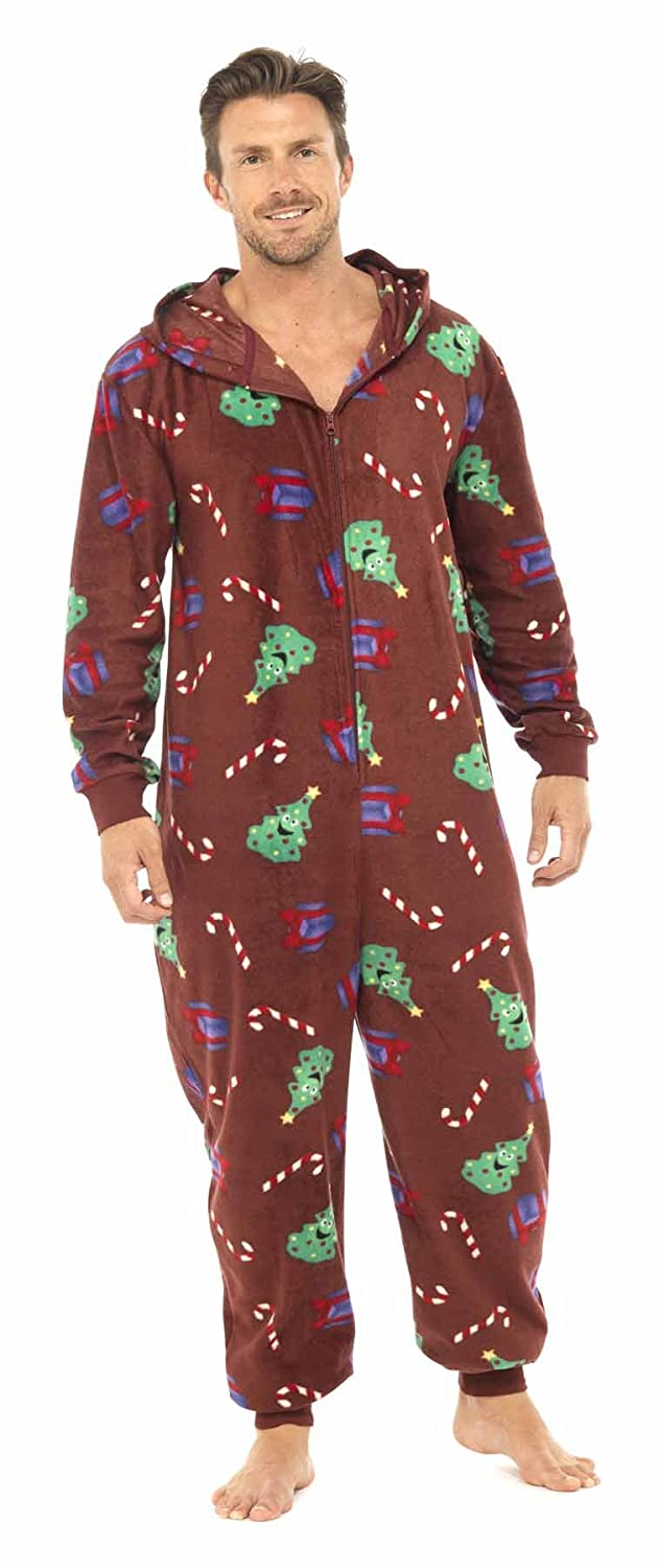0552adb38d203 MENS RED MEDIUM/LARGE HOODED CHRISTMAS NOVELTY ONESIE ALL IN ONE FLEECE:  Amazon.co.uk: Clothing