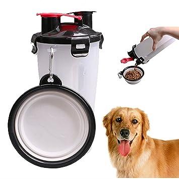 DAN Botella De Agua para Alimentos para Mascotas 2 En 1 con Recipiente Recipiente De Almacenamiento con Dos Cámaras Y Recipientes para Mascotas Plegables ...