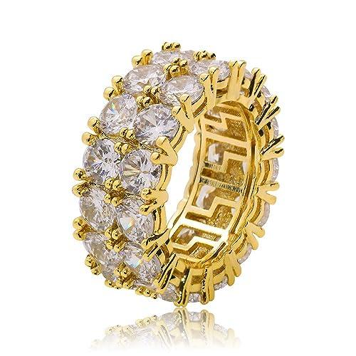 9603c119030cf2 LuReen 2 Rows Dimond CZ Mens Rings Bling Bling Hip Hop Rings Gift (Gold-