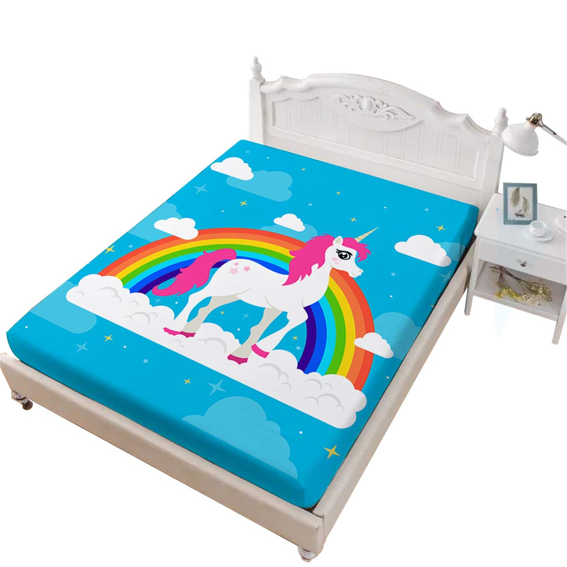 JARSON 1Piece Cartoon Unicorn Fitted Sheet,Plant Floral Printed Sheet Twin Size Deep Pocket Bedding,Girls Gift for Bedroom Decor