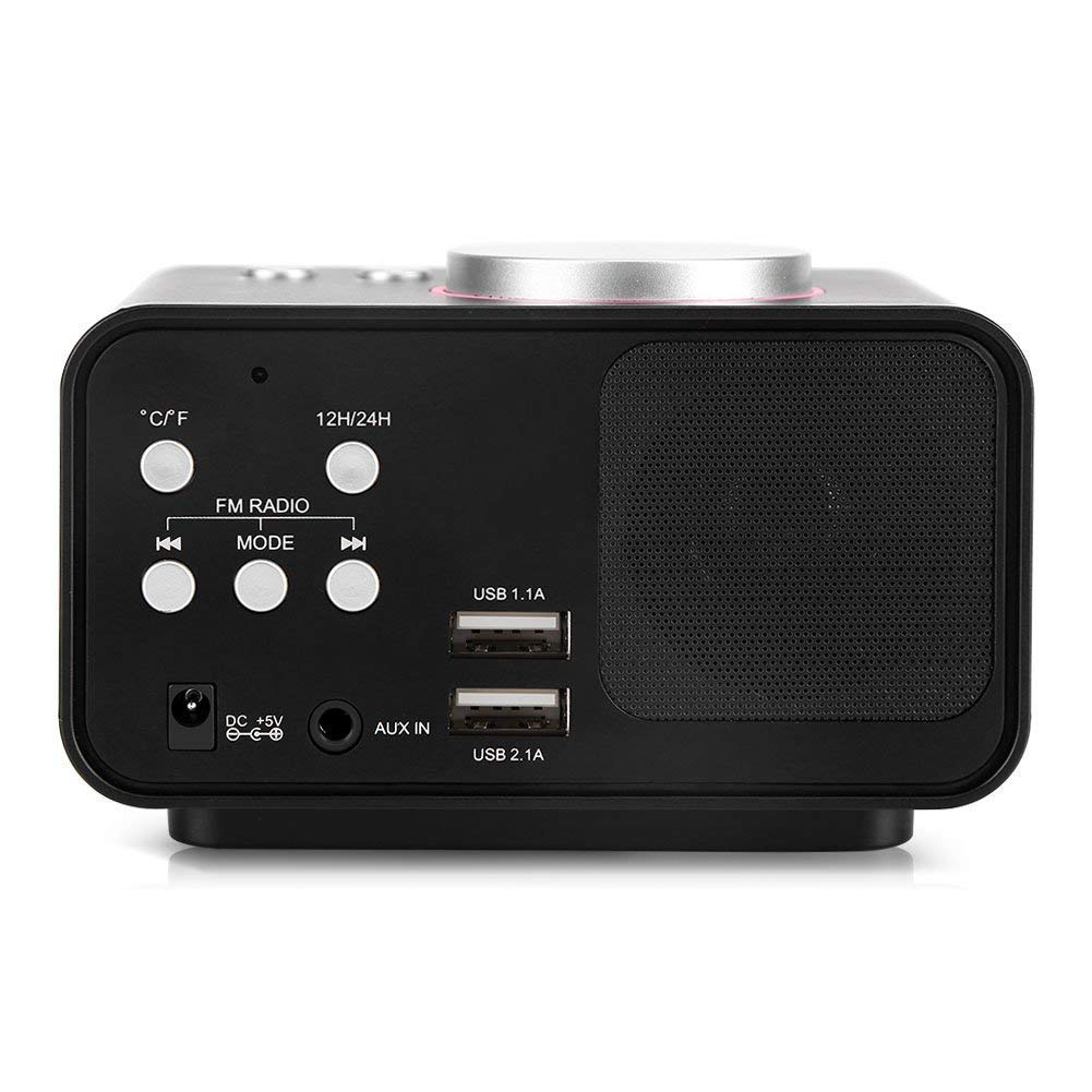 Radio-r/éveil Num/érique LCD Affichage Radio-r/éveil FM avec Haut-parleur Fonction Dual USB Ports de Recharge Bureau Maison Noir