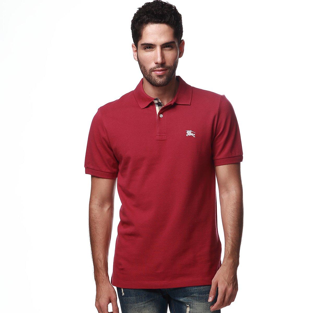 4e7fdb32b836 Burberry Brit Men s Berry Pink Check Cotton Pique Logo Slim Fit Polo  T-shirt L at Amazon Men s Clothing store