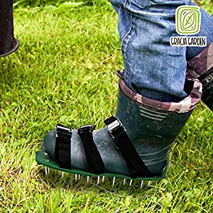 Gracia Garden Lawn Aerator Shoes - 3 Adjustable Straps with Heavy Metal Buckles, Spare Spikes, Bonus Wrench and Easy Assemble Instruction Included- For Fertilize Your Garden