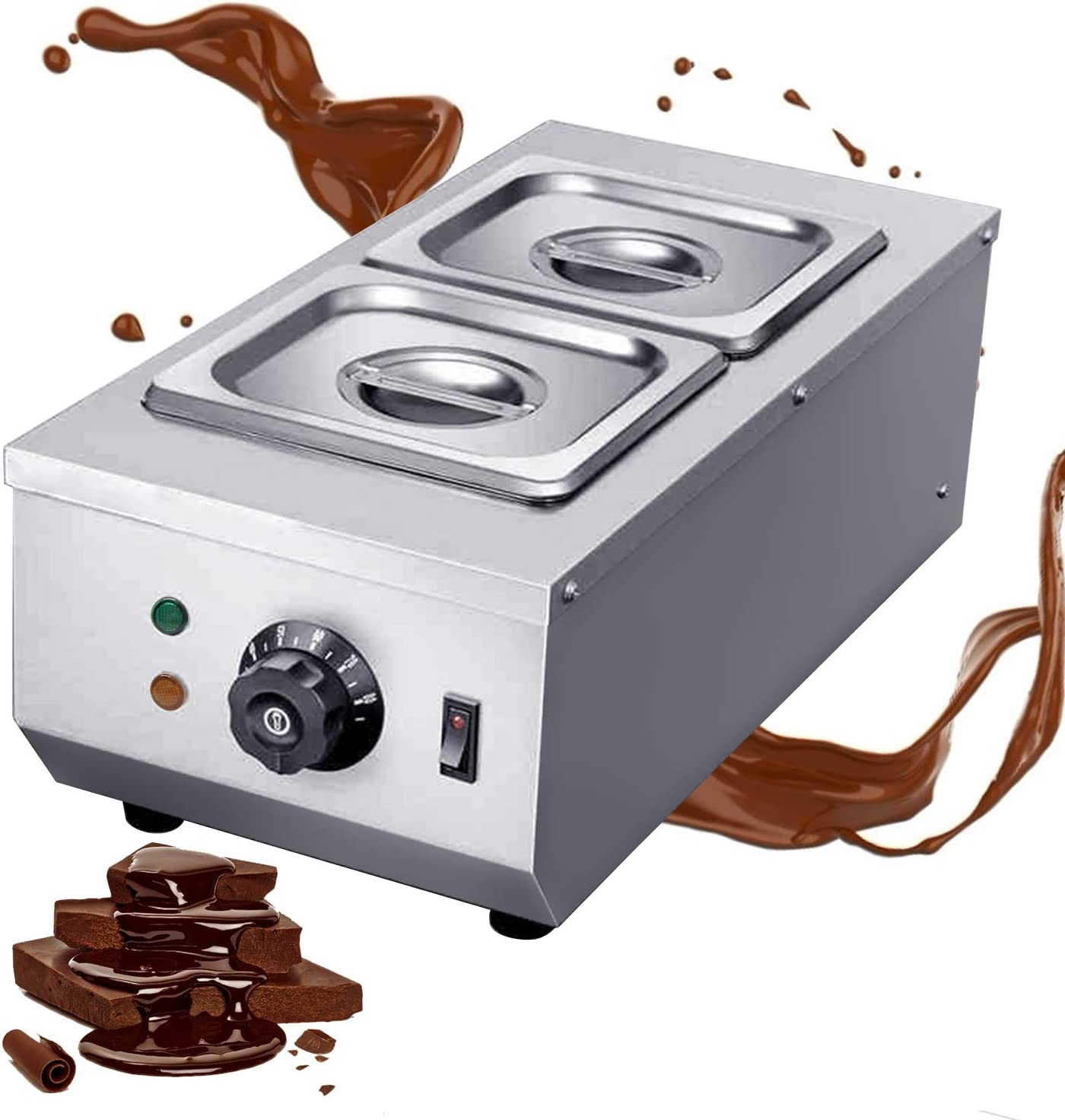 Huanyu 6L Commercial Chocolate Tempering Machine 2 Tanks Professional 30~80°C Chocolate Melter Pots Melting Machine Double Cylinder Knob Control (110V)