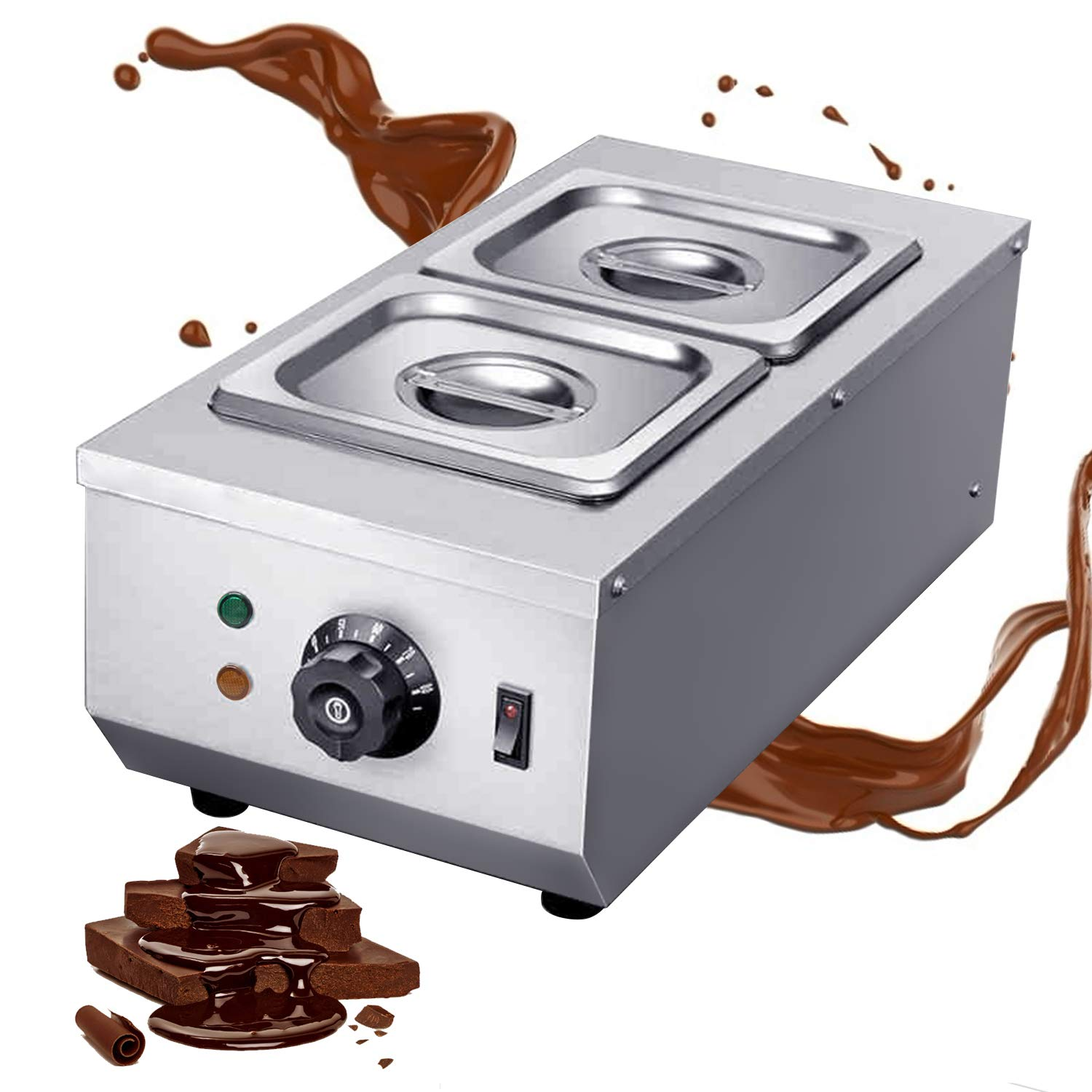 Huanyu Commercial Chocolate Tempering Machine 2 Tanks 9lbs Professional 30~80°C Chocolate Melter Pots Melting Machine Double Cylinder Knob Control (110V)