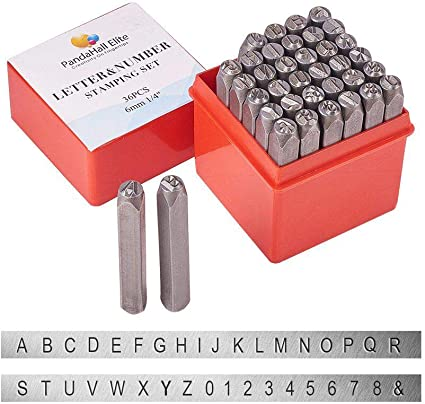 Metal Letter Stamps in Wooden Box  Standard Bench Made Tagged Box