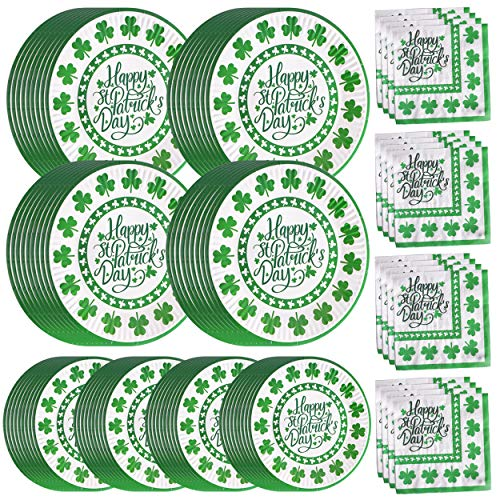 St Patrick's Day Paper Plates and Napkins Bulk Dinnerware for 50 Guests Disposable Dessert Plates Green Shamrock Irish Party Supplies 9 inch 7 inch Tableware Set , Serves 50]()