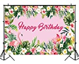 Funnytree 7X5ft Hot Pink Summer Tropical Flamingo Party Backdrop Flowers Jungle Birthday Decorations Photography Background Photo Banner