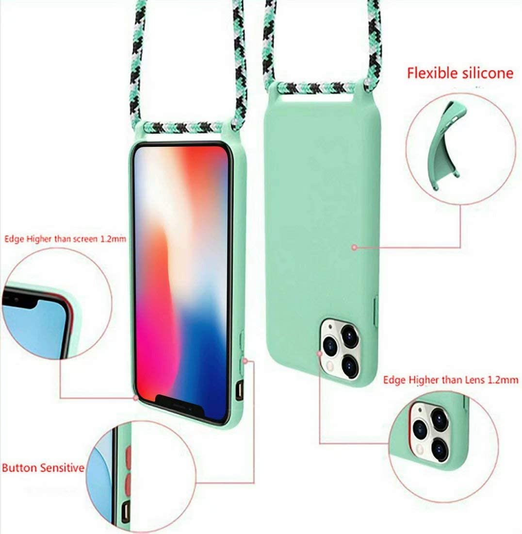 Oro Rosa JMstore Funda con Cuerda Compatible con iPhone 11 Pro Ajustable Collar Correa de Cuello Cord/ón Carcasa de Silicona Colgante