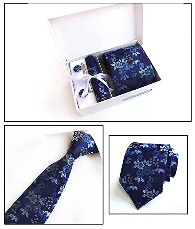MENDENG Mens Red Paisley Necktie Suit Tie Bar Clip Pocket Square Cufflinks Set